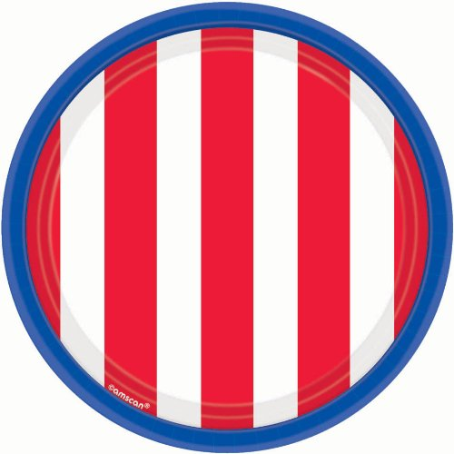 Amscan Stars Dessert Plates Patriotic 4th of July Party Disposable Tableware (18 Pack), Red/White/Blue, 7 x 7 -