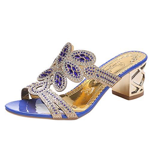 Sunhusing Women Stylish Trend Bohemian Crystal Rhinestone Thick with Roman Shoes Peep Toe Sandals Slippers Blue