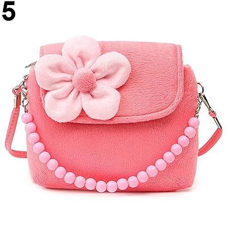 8e1783cb21f2 Bangle009 Children Kid Girls Princess Messenger Shoulder Bag Flower Beads  Chain Handbag Watermelon Red