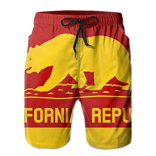 California Bears Short (PPANFKEI California Flags Bear Mens Cool Boardshorts Swim Shorts Watershort)