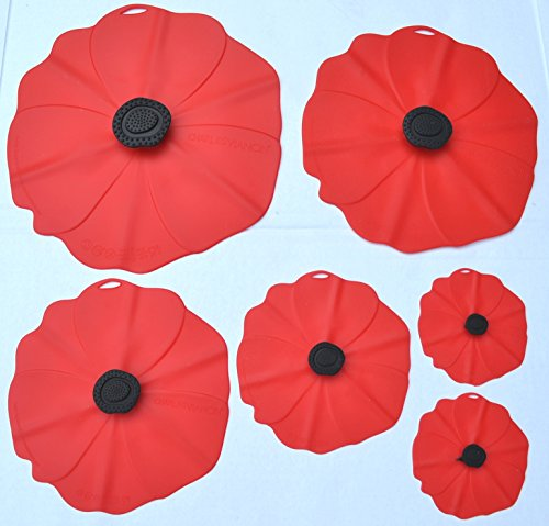 Price comparison product image Charles Viancin Red Poppy Silicone Lids Set of Six (6) 11,  9,  8,  6,  4,  4 with Red and White Hibiscus Tote Bag