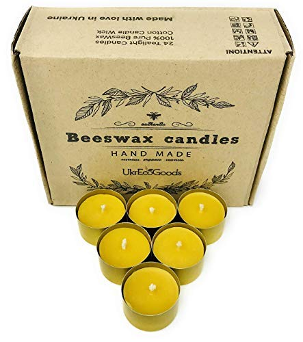(UkrEcoGoods Beeswax tealight Candles in Bulk 24 Count with Metal Cup 100% Raw Handmade)