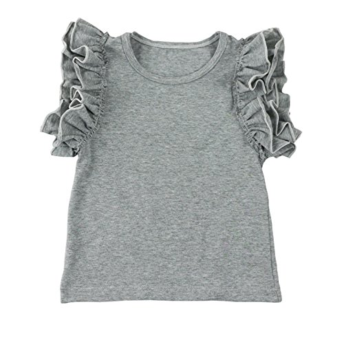ls' Double Ruffle Solid Tank Top XX-Large Gray ()