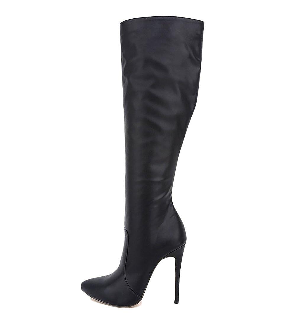 b3d4c8ad542 VOCOSI CB-052 Women's Knee-Boots Stiletto High Heels Plain Classic Riding  Boots Shoes