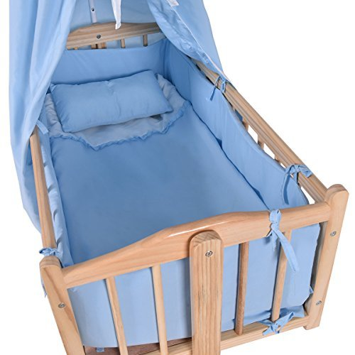 Wood Baby Cradle Rocking Crib Newborn Bassinet Bed Sleeper Portable Blue