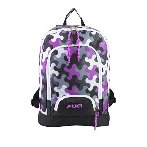 Fuel Girls Multi Pocket Backpack With Tech Compartment, Wave Pattern, One Size