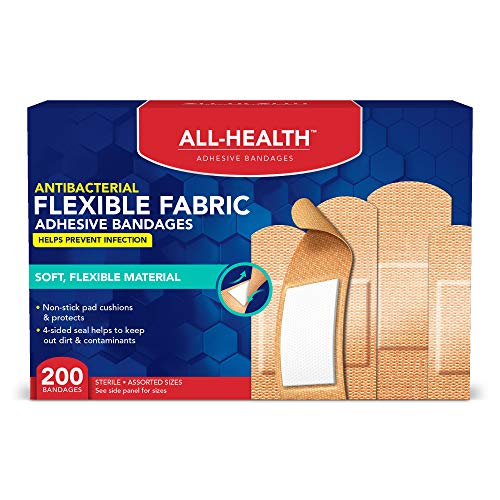 All-Health Antibacterial Flexible Fabric Adhesive Bandages, Assorted Sizes, 200 ()