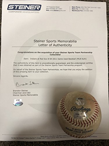 Boston Redsox 8/4/11 Vs Cleveland Indians Authentic MLB Rawlings GAME USED Baseball (USED IN ACTUAL GAME) Steiner Sports & MLB COA & Hologram