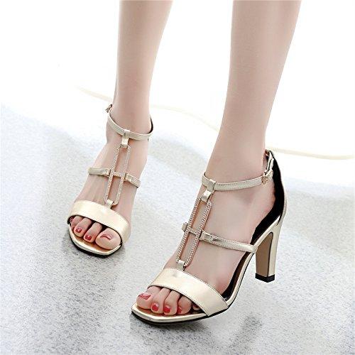 tacco femmina femmina e la 9cm sandali GTVERNH 39 scarpe scarpe i strass perle t l'estate corrisponde primavera 7 volgare tutto alto una aperte golden col fibbia qAwYxIUY