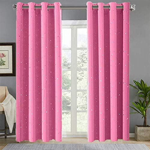 WINYY Semi Blackout Curtain Pink Printed Silver Stars Thermal Insulated Curtain for Kids Living Room Girls Bedroom Drape Rings Grommet Eyelets Top Window Treatment 1 Panel W114 x H96 inch