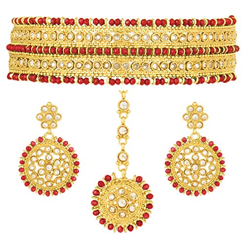 Aheli Ethnic Wedding Wear Polki Stone Beaded Choker Necklace with Maang Tikka Set Bollywood Fashion Jewelry for Indian Women (Red)]()