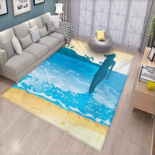Deluxe Vibe Carpet - Beach Bath Mats Carpet Summer Vibes Girl Near The Sea Shore Ocean Palms Waves Sunny Art Print Door Mats for Inside Non Slip Backing 4'7