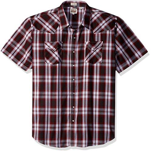 Ely & Walker Men's Short Sleeve Plaid Western Shirt-Big, Wine, 4X