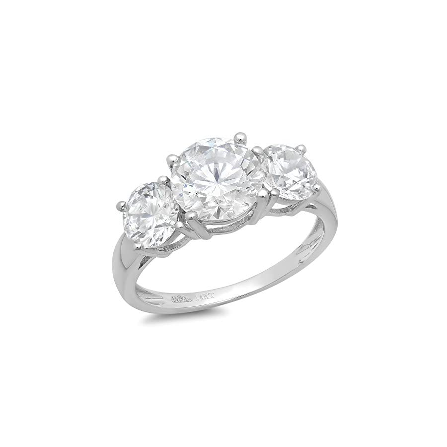Clara Pucci 3.45 Ct Round Cut Solitaire 3 Stone Engagement Promise Wedding Bridal Anniversary Band Ring 14K White Gold