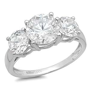 Clara Pucci 3.15 CT Round Cut Solitaire 3-Stone Bridal