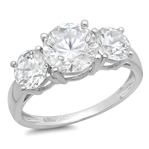 3 Stone Designer Ring - 3.25CT Round Cut Simulated Diamond CZ Solitaire 3-Stone Engagement Wedding Band Ring 14K White Gold, Size 8.25