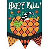 Happy Fall Aqua and Black Pattern Pumpkin 30 x 44 Harvest Pennant Shape Large House Flag For Sale