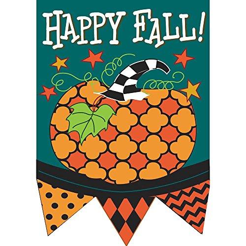 Happy Fall Aqua and Black Pattern Pumpkin 30 x 44 Harvest Pennant Shape Large House Flag