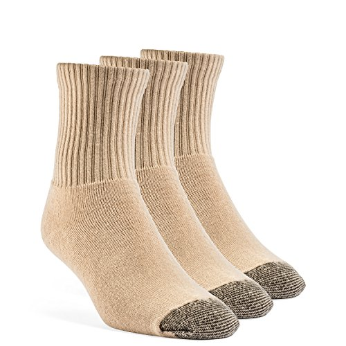 YolBer Men's Cotton Super Soft Quarter Cushion Socks - 3 Pairs, Large, Nude Beige