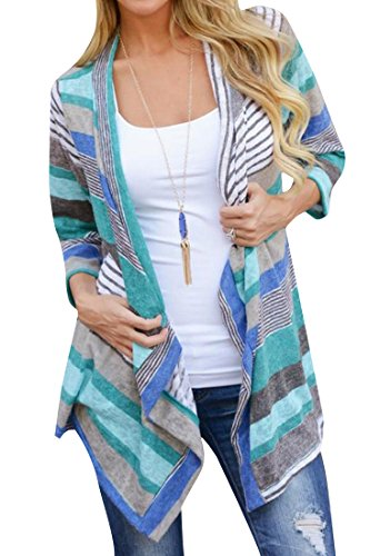 ANDYOU Womens Open Front Fashion Striped Sleeves Cardigan