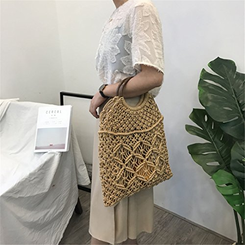 Handle1 Bohemia Millettia 100 Summer Mimbre Handbags with Handle De Straw De Handmade Tote Mimbre Knitted Brown Brown Handle Ks1207 Bolsos With Bolsos qEx0n4Uv