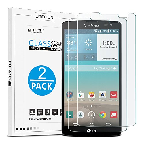 LG G Vista Screen Protector(2 Pack), OMOTON Tempered Glass Screen Protector with [9H Hardness] [Premium Crystal Clear] [Scratch-Resistant] [No-Bubble Installation] (Lg G Vista Screen Protector compare prices)