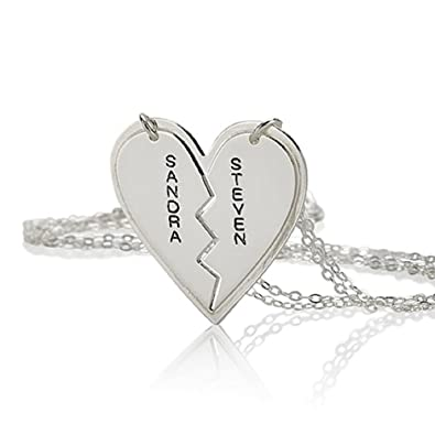 name couples jewelry necklace forever silver boekvpl two for pendant amazon names friends com breakable broken heart dp personalize sterling s chains couple any