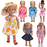 "FLETA for American Girl 18 inch Baby Doll Clothes, 6 Pack Sets, 18"" Dolls Outfits Journey Girls Accessories"