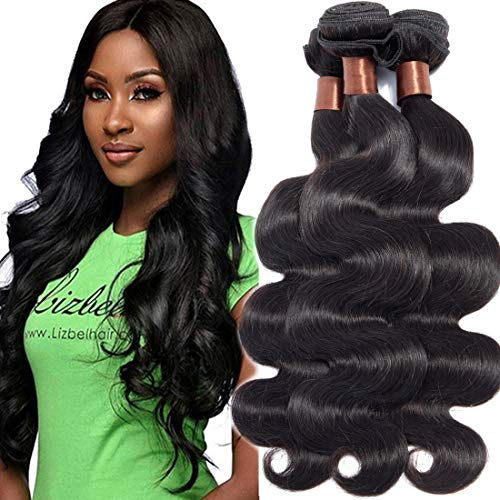 Angie Queen Virgin Human Hair Extensions Weave Weft Unprocessed Malaysian Virgin Hair Body Wave Natura Black Color 3 Bundles 12 14 16inch (100+/-5g)/bundle Can be Dyed and Bleached from Angie Queen