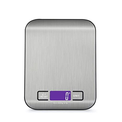 Digital Kitchen Scale Multifunction Food Scale 11 lb//5 kg Silver Stainless Steel