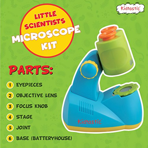 Kidtastic Microscope Science Kit for Kids - Fun Learning Toys for Preschoolers - STEM Toy for 3 Year olds - with 12 Slides Animals & Nature, 8X Zoom, LED Light - for Ages 3, 4, 5, 6 and up