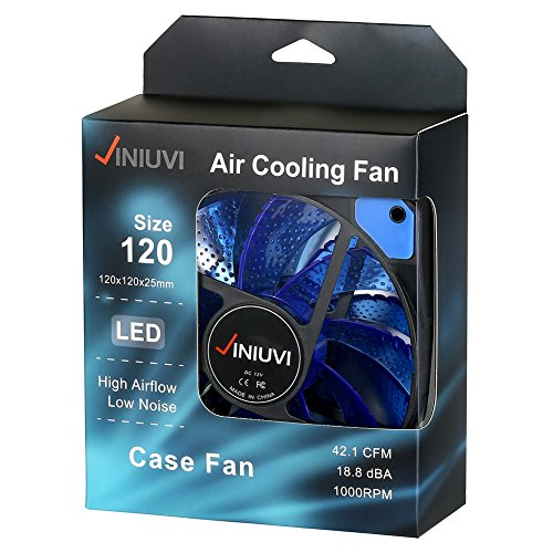 2 Pack Blue 120mm Case Fan Cooling PC and Light Up Computer Case with Cool Look, Long Life Bearing with DC 15 LED Illuminating PC Case. Quiet Durable Fans Enhance Performance of Tower by VINIUVI (Image #6)