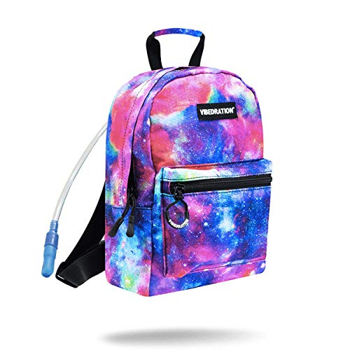 Vibedration Mini h2o 1 Liter Hydration Pack | Cute Water Backpack Purse for Rave Clothing & Festival Outfits (Metallic -