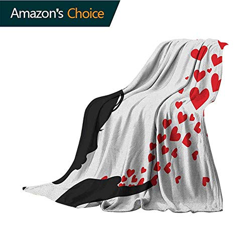 Kiss Throw Blanket,Pretty Girl Black Silhouette Blowing Red Hearts Romance Love Valentines Day Theme Microfiber All Season Blanket for Bed or Couch Multicolor,30