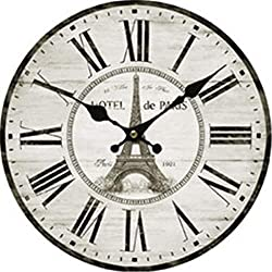 Enidgunter Eiffel Tower Nursery Wall Clock for Kids Wooden Wall Art Decoration Christmas Clock Gifts 12 inches