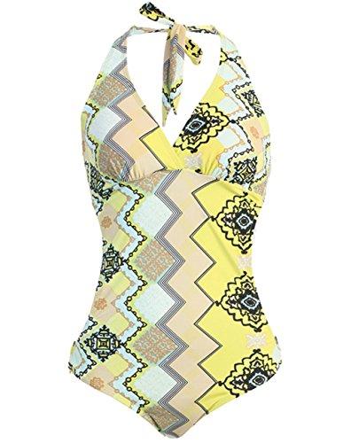 1 Piece Curved Waist Halter Monokini Swimsuit (Medium, Pucci Yellow)