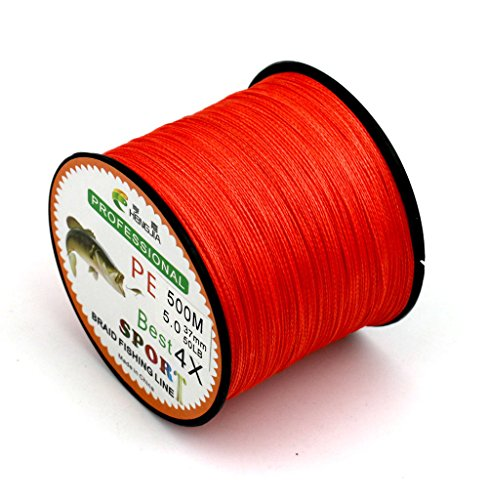 Maoko 500M/550 Yards PE 4 Braided Line/Dyneema/Superline Fishing Line 80lb / 50lbs / 30lb For Sea Freshwater Fishing Orange Red