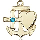 14kt Yellow Gold Faith Hope & Charity Medal with 3mm December Blue Swarovski Crystal 7/8 x 3/4 inches