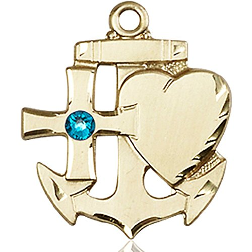 14kt Yellow Gold Faith Hope & Charity Medal with 3mm December Blue Swarovski Crystal 7/8 x 3/4 inches by Unknown