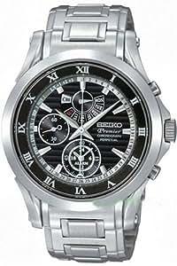Seiko Premier Chronograph Black Dial Stainless Steel Mens Watch SPC051