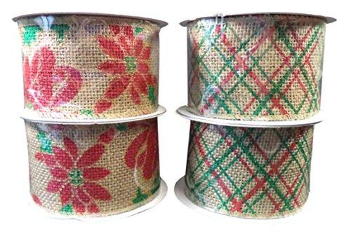 "Christmas Burlap Jute Ribbon, 2 1/2"" In. X 15 Ft, Pack of (4) Rolls: (2) Poinsettia, (2) Striped"