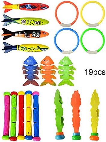 GoodFaith スイミングプールおもちゃ ダイビングリング 魚雷サメ プール 水泳 訓練 ゲーム玩具 プラスチック製 明るい色 水遊び 知育玩具 子供 プレゼント 19本セット&27本セット