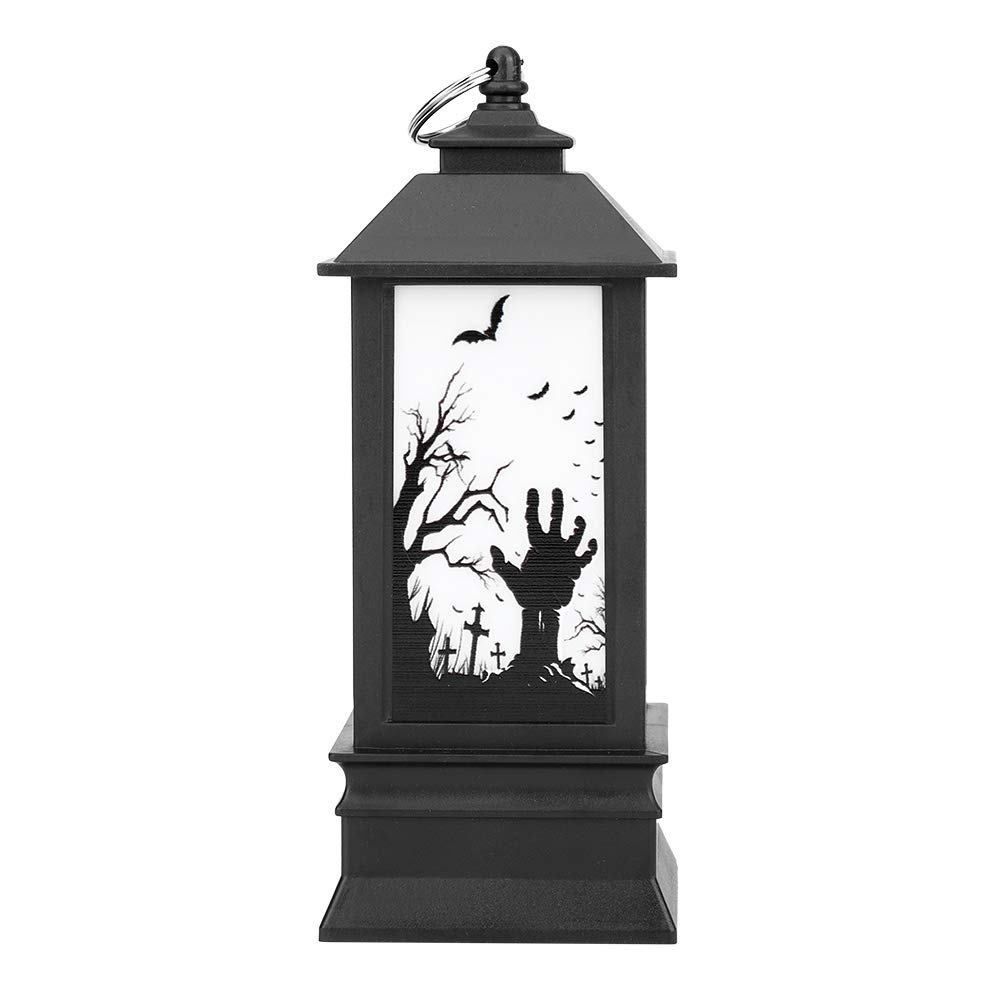 Hanging Decorative Lantern Flameless Flickering Flame Light Indoors Outdoors Halloween Party Decor with WizardSkeletonPumpkin Ghost Hand Pattern (Ghost Hand) Zerodis