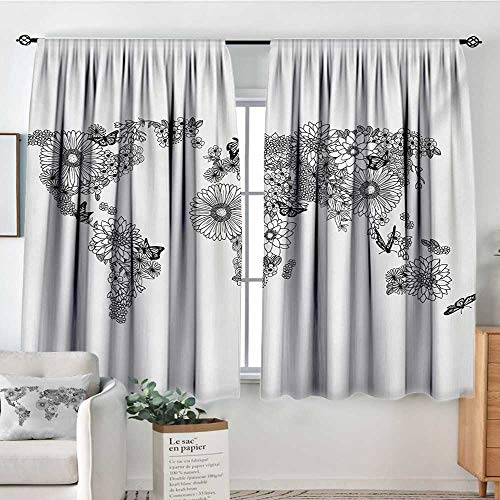 "Floral World Map Room Darkening Curtains Floral Planet Petals with Butterflies Flying on Continents Oceans Graphic Patterned Drape for Glass Door 55"" W x 39"" L Black White"