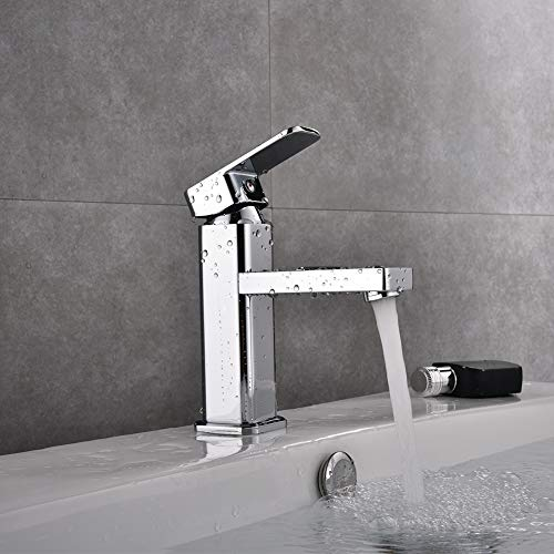 Commercial Modern Bathroom Faucet Single Handle Chrome, Single Hole Washbasin Faucet with Deck Simple Installation ()