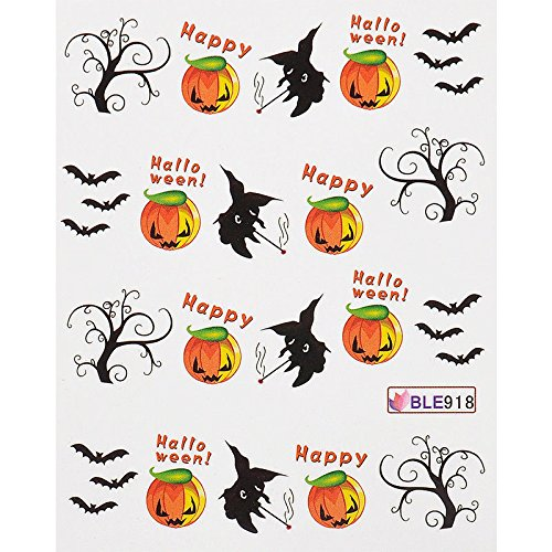 Baba Halloween Nail Art Transfer Decals Stickers Witch Bat Skull Black Cat Pumpkin Spider Web For Halloween Party -