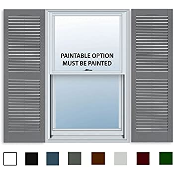 Attractive ExteriorSolutions.com 15 Inch X 51 Inch Standard Louver Exterior Vinyl  Window Shutters, Paintable