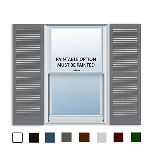 15 Inch x 59 Inch Standard Louver Exterior Vinyl Window Shutters, Paintable (Pair)