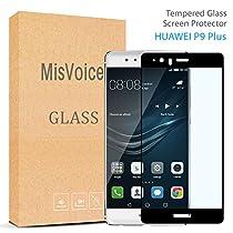 Huawei P9 Plus Vollbild Panzerglas MisVoice Gehartetem Glas Folie Schutzfolie Displayschutzfolie 2.5D Displayschutzfolie, Screen Protector aus Glas - kratzfest  für Huawei P9 Plus , Schwarz