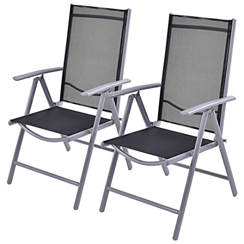 New Set of 2 Durable Textilene Patio Folding Chairs Adjustable Reclining Indoor Outdoor Garden Pool /Grey #324 (Furniture Sale Outdoor Nz Clearance)